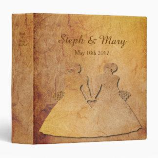 Paper Vintage Texture Lesbian Wedding Album Gift 3 Ring Binder