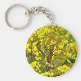 Paper Wasp on Goldenrod Items Basic Round Button Keychain