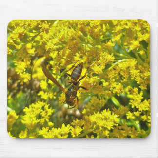 Paper Wasp on Goldenrod Items Mouse Pad