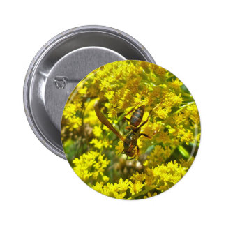 Paper Wasp on Goldenrod Items Pinback Button