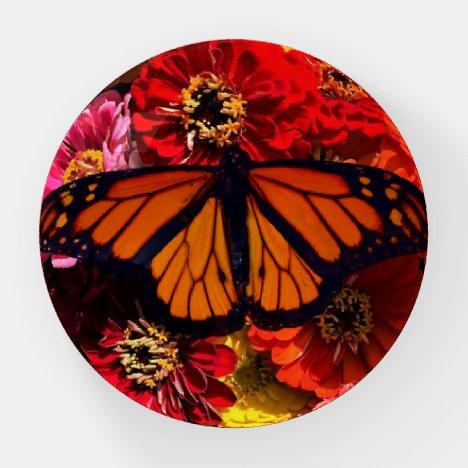 Paper Weight - Monarch Butterfly Zinnias