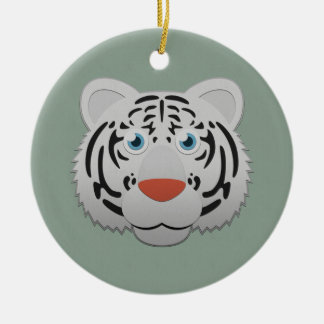 Paper White Bengal Tiger Ceramic Ornament