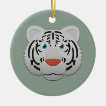 Paper White Bengal Tiger Round Ceramic Ornament