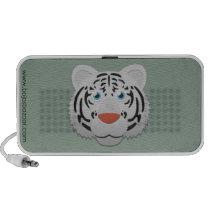 Paper White Bengal Tiger Doodle Speaker