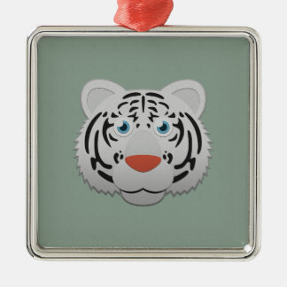 Paper White Bengal Tiger Metal Ornament
