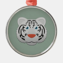 Paper White Bengal Tiger Premium Round Ornament