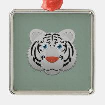 Paper White Bengal Tiger Premium Square Ornament