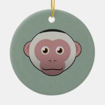 Paper White-Faced Capuchin Round Ceramic Ornament