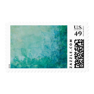 Paper With Blue, Green, And Black Paint Abstract Postage