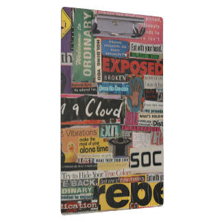 Paper word phrase collage from magazine clippings clipboard