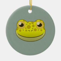 Paper Yellow Frog Round Ceramic Ornament