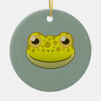 Paper Yellow Frog Double-Sided Ceramic Round Christmas Ornament
