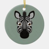 Paper Zebra Round Ceramic Ornament