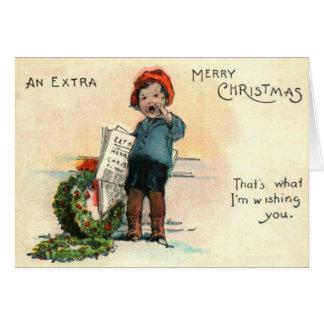 Paperboy con la guirnalda tarjeta de felicitación