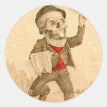 Paperboy esquelético pegatina redonda