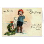Paperboy With Wreath Greeting Cards