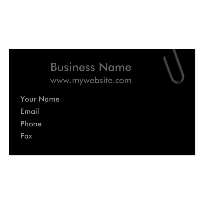 Paperclip Black Business Card