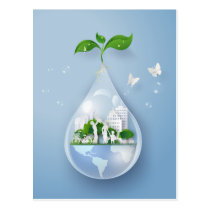 Papercut City Water Drop Earth Day Announcement Postcard