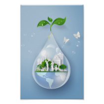 Papercut City Water Drop Earth Day Conservation Poster