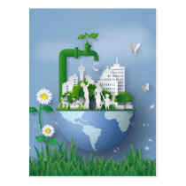 Papercut Earth Day Conservation Faucet & City Postcard