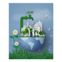 Papercut Earth Day Conservation Faucet & City Poster