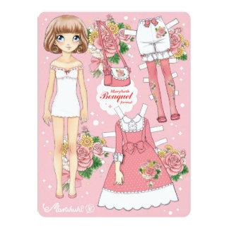 """Paperdoll de Marybeth - ramo formal (rosa) Invitación 6.5"""" X 8.75"""""""