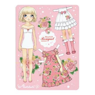 """Paperdoll de Marybeth - verano del ramo (rosa) Invitación 6.5"""" X 8.75"""""""
