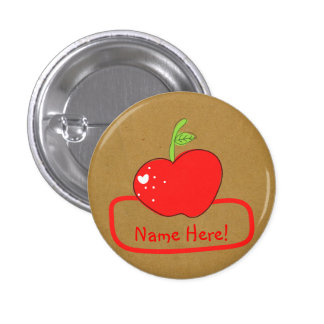 PaperFruit Apple Name Badge 1 Inch Round Button