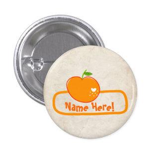 PaperFruit Orange Name Badge Pinback Button