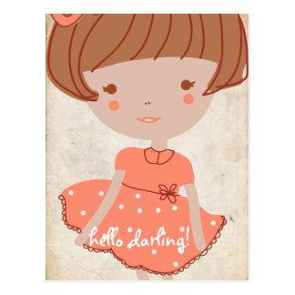paperfruit sweet bow girl postcard
