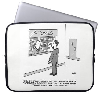 Paperless Society. Man wants a Toilet Roll Laptop Sleeve