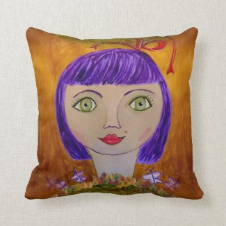Paperplate Girl on Throw Pillow