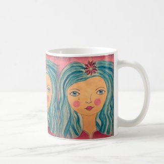 Paperplate Girl with Blue Hair on Coffee Mug