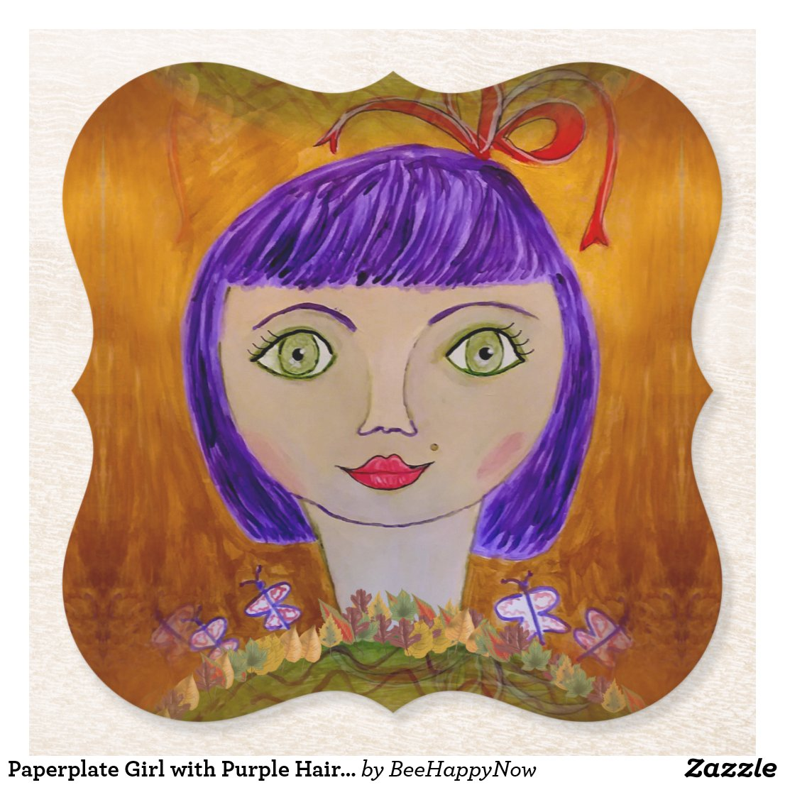 Paperplate Girl with Purple Hair on Drink Coasters
