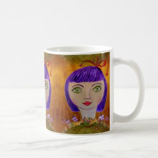 Paperplate Girl with Purple Hair on Mug