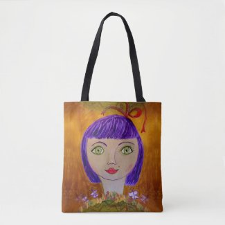 Paperplate Girl with Purple Hair Tote Bag