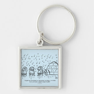 Paperweight Silver-Colored Square Keychain