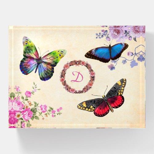 Paperweight - Three Butterflies & Floral Monogram