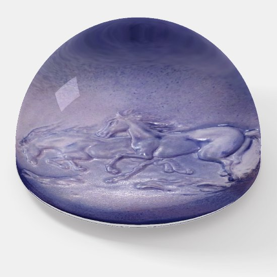 Paperweight - Wild Horses in Blue