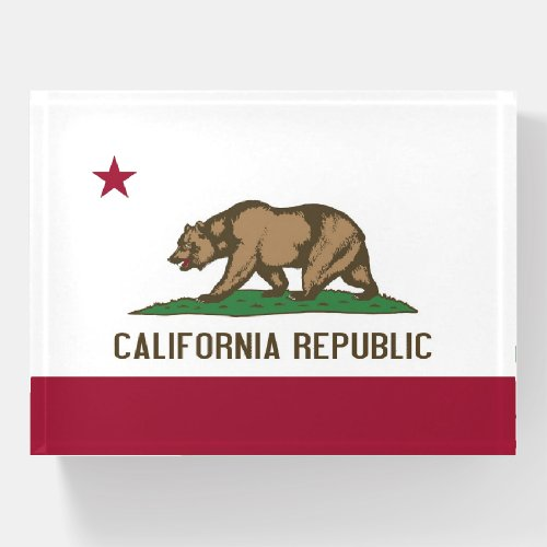 Paperweight with flag of California, USA