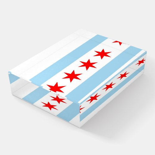Paperweight with flag of Chicago, Illinois, USA