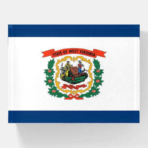 Paperweight with flag of West Virginia State, USA