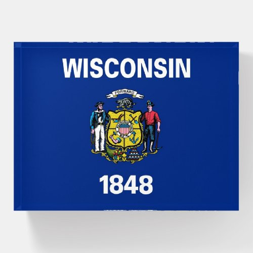 Paperweight with flag of Wisconsin State, USA