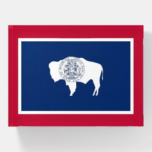 Paperweight with flag of Wyoming State, USA