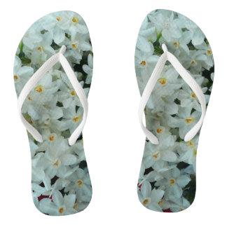 Paperwhite Narcissus Delicate White Flowers Flip Flops