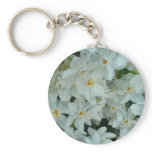 Paperwhite Narcissus Delicate White Flowers Keychain