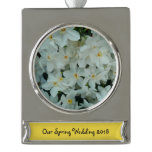 Paperwhite Narcissus Delicate White Flowers Silver Plated Banner Ornament