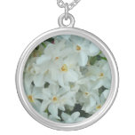 Paperwhite Narcissus Delicate White Flowers Silver Plated Necklace