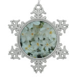 Paperwhite Narcissus Delicate White Flowers Snowflake Pewter Christmas Ornament