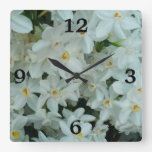 Paperwhite Narcissus Delicate White Flowers Square Wall Clock